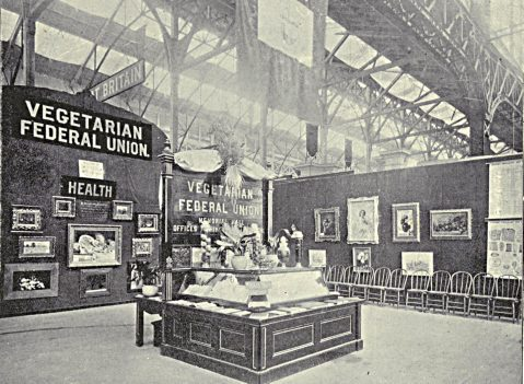 Old picture of a vegetarian exhibition stand