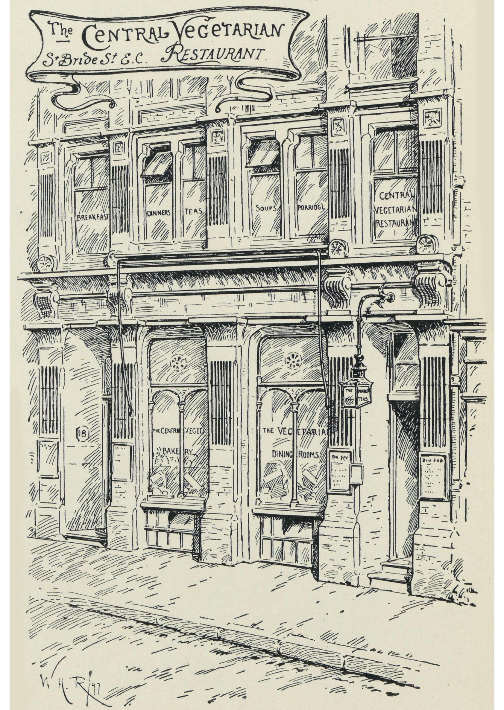 "Drawing of the ""Central Vegetarian Restaurant"" exterior"