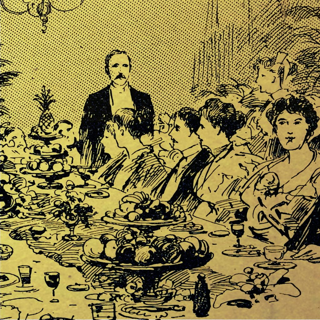 Victorian men and women at tables of fruit