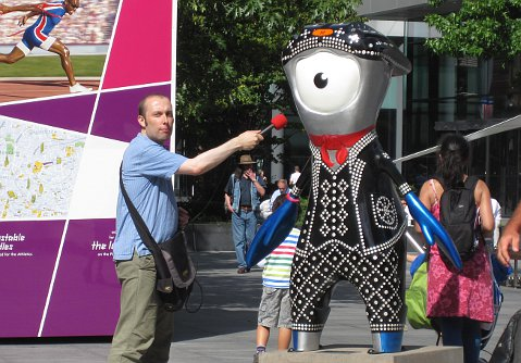 Ian with Olympic mascot Mandeville