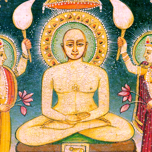 Cross legged naked male figure with halo