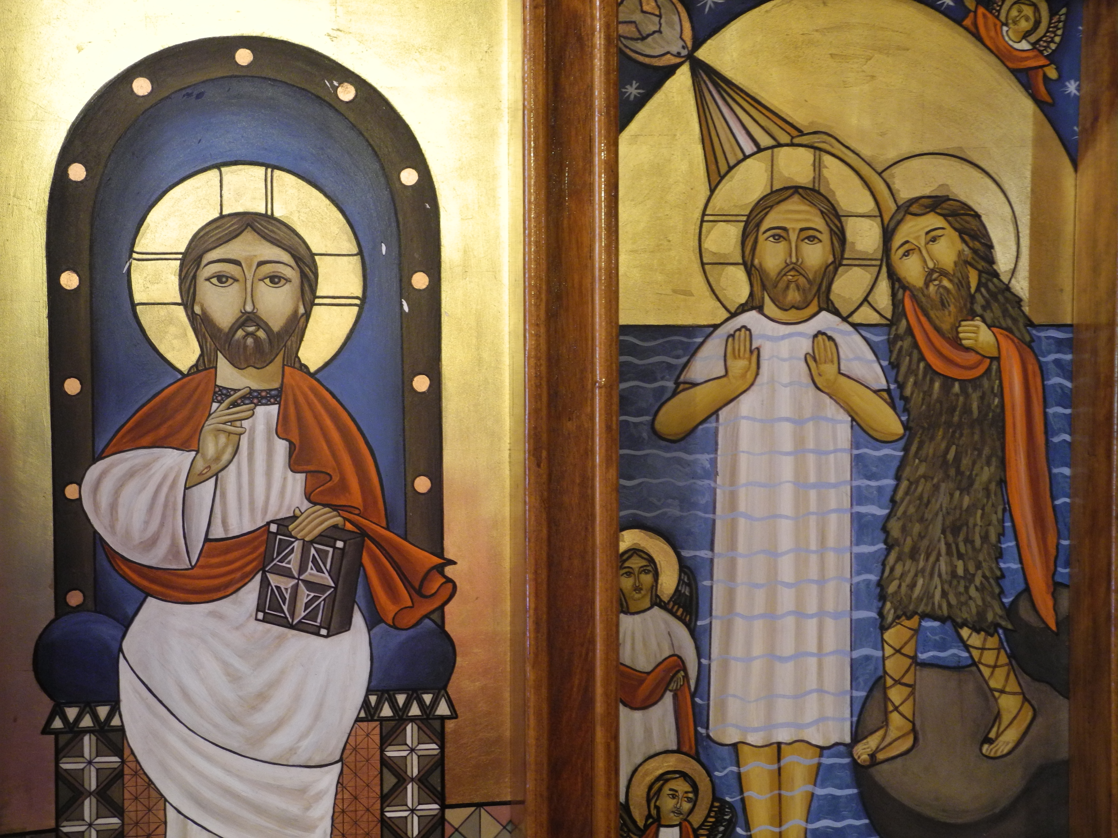 Icons of Jesus enthroned and during his baptism