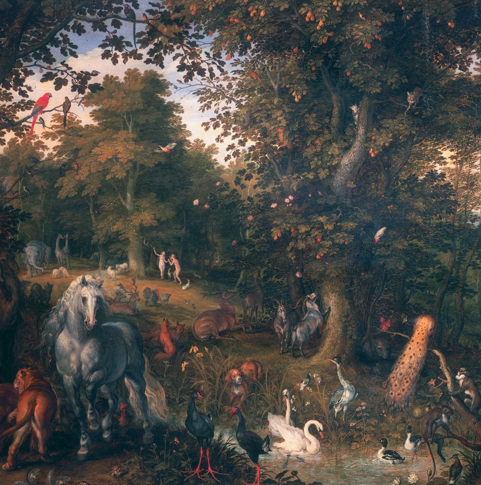 Many animals mix peacefully in a verdant landscape (painting)