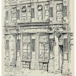 """Drawing of the """"Central Vegetarian Restaurant"""" exterior"""