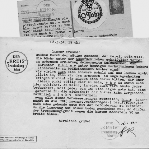 Both sides of a written postcard, in German